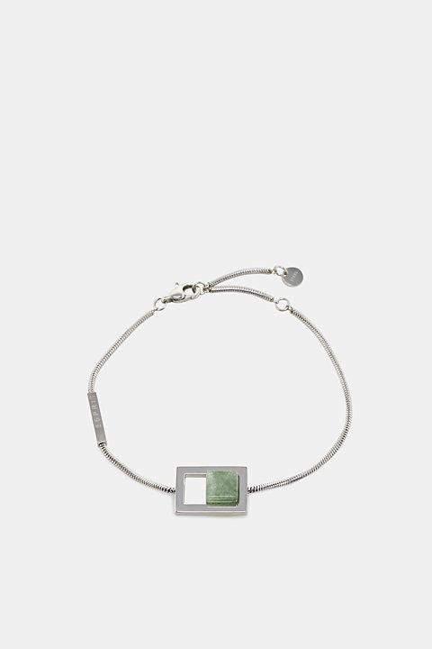 Stainless steel bracelet with artificial jade gemstone
