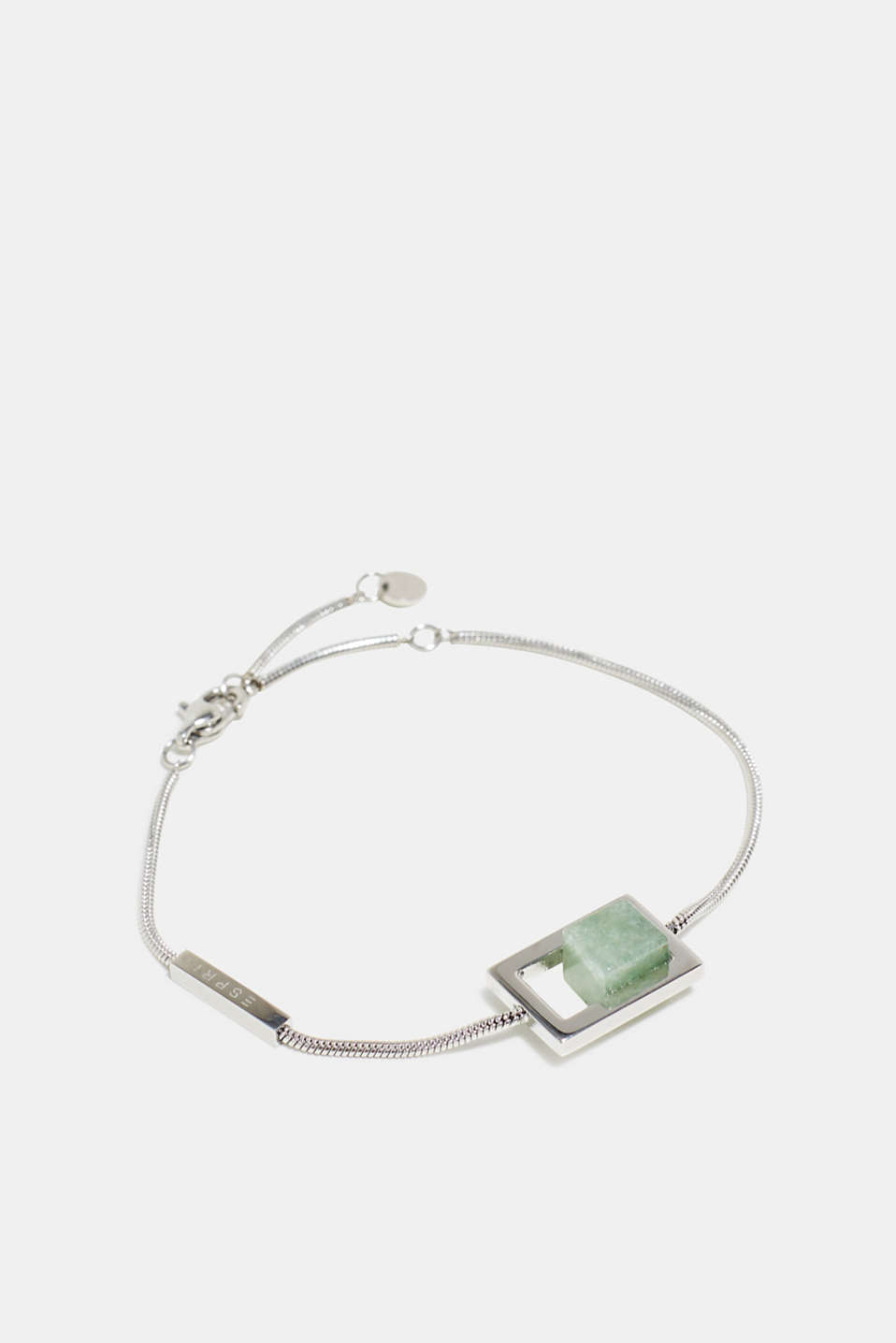 Stainless steel bracelet with artificial jade gemstone, one colour, detail image number 1
