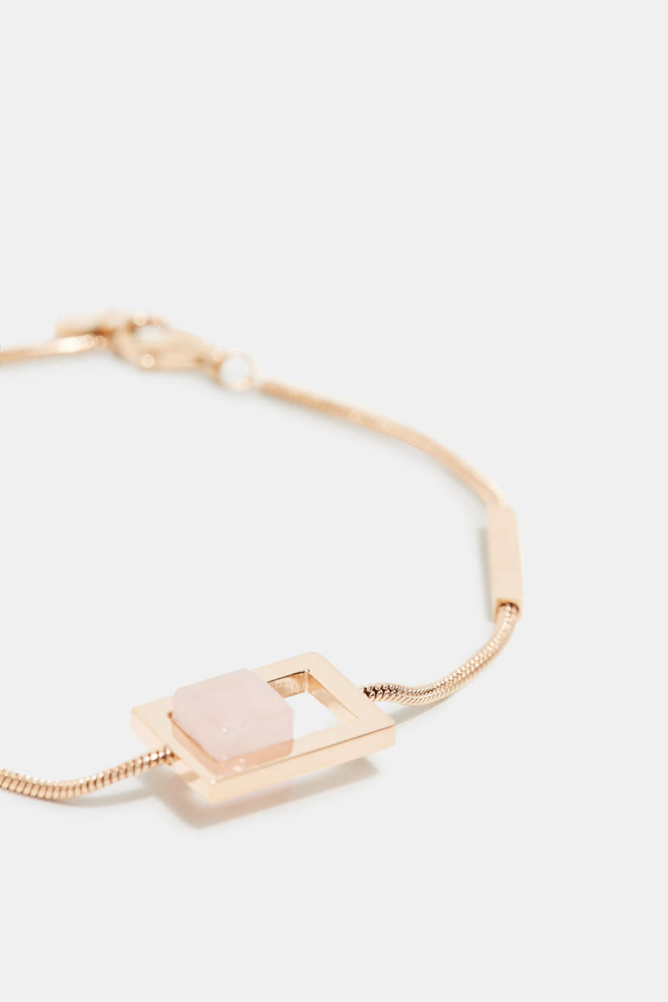 Stainless steel bracelet with stones in a rose quartz look, ROSEGOLD, detail image number 1