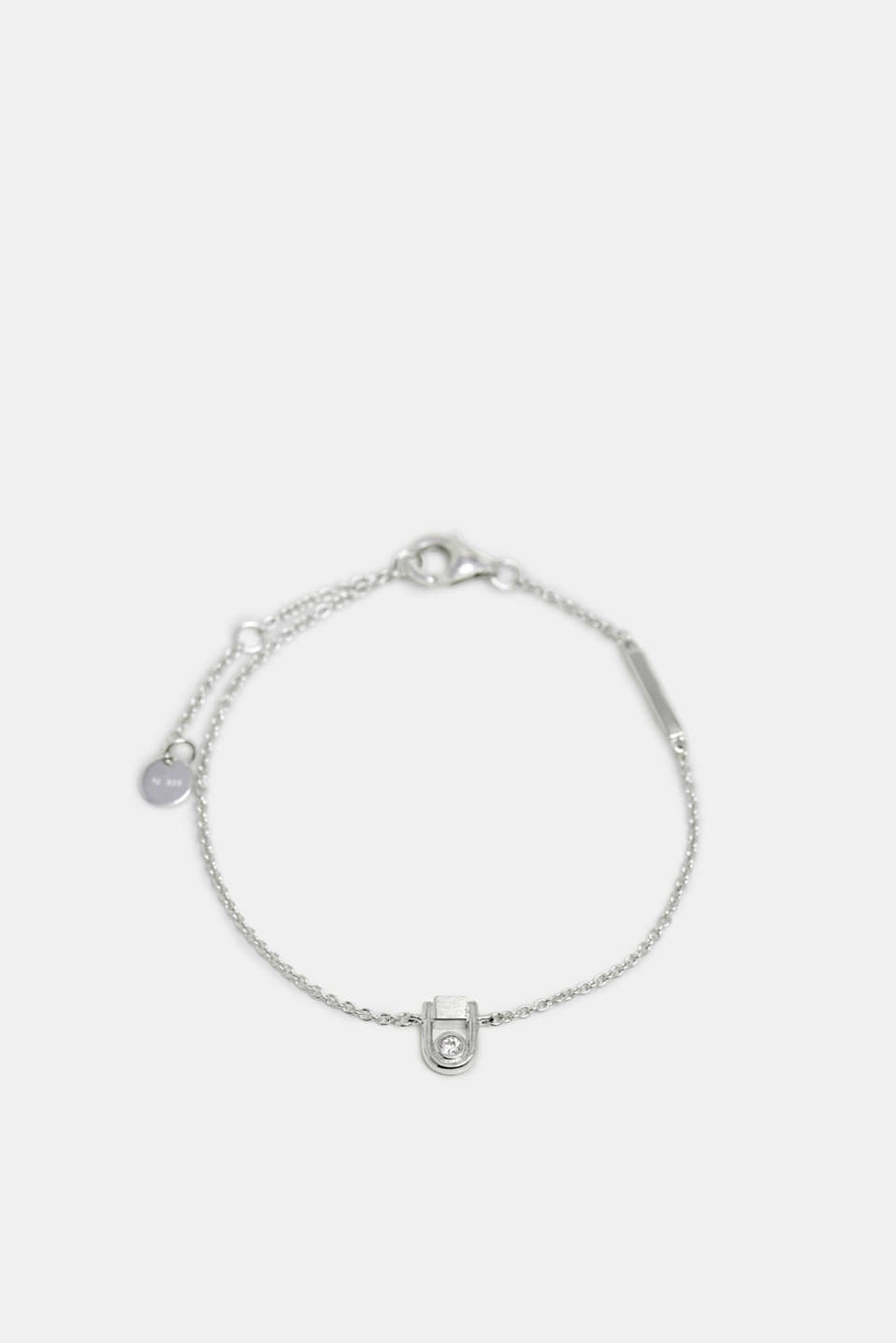 Bracelet with zirconia charm, sterling silver, SILVER, detail image number 0