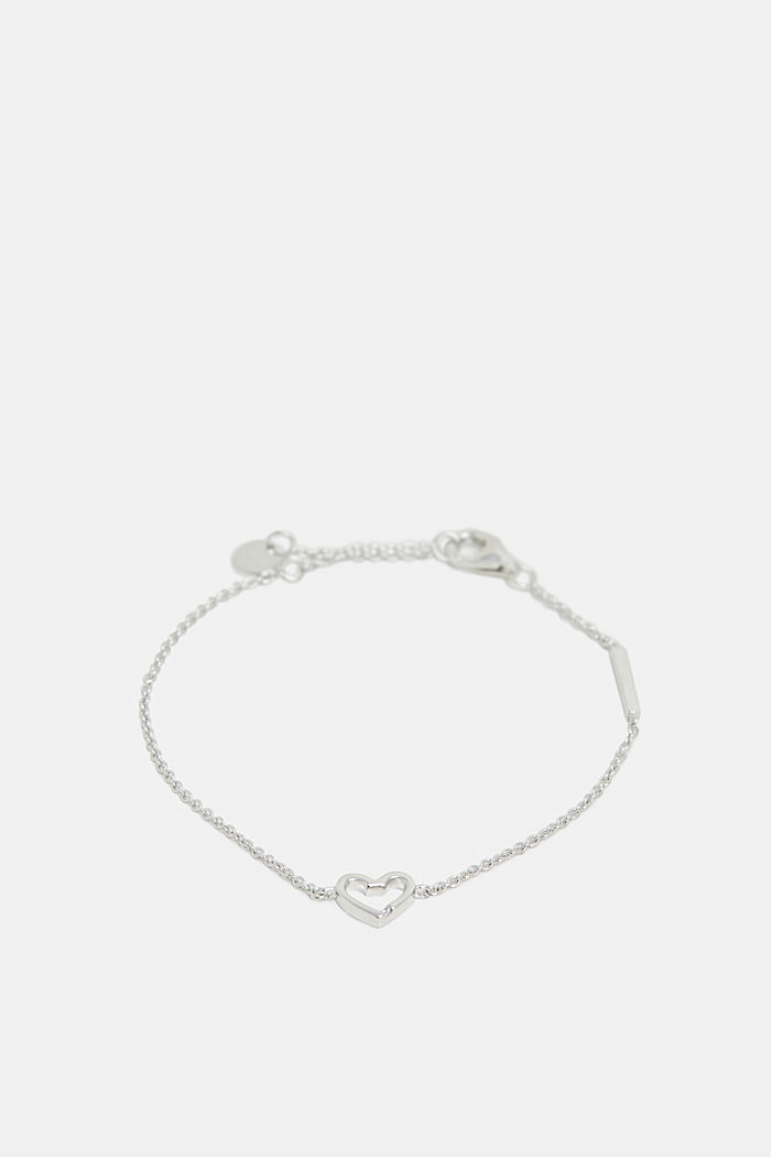 Bracelet with a heart pendant, sterling silver, SILVER, detail image number 0