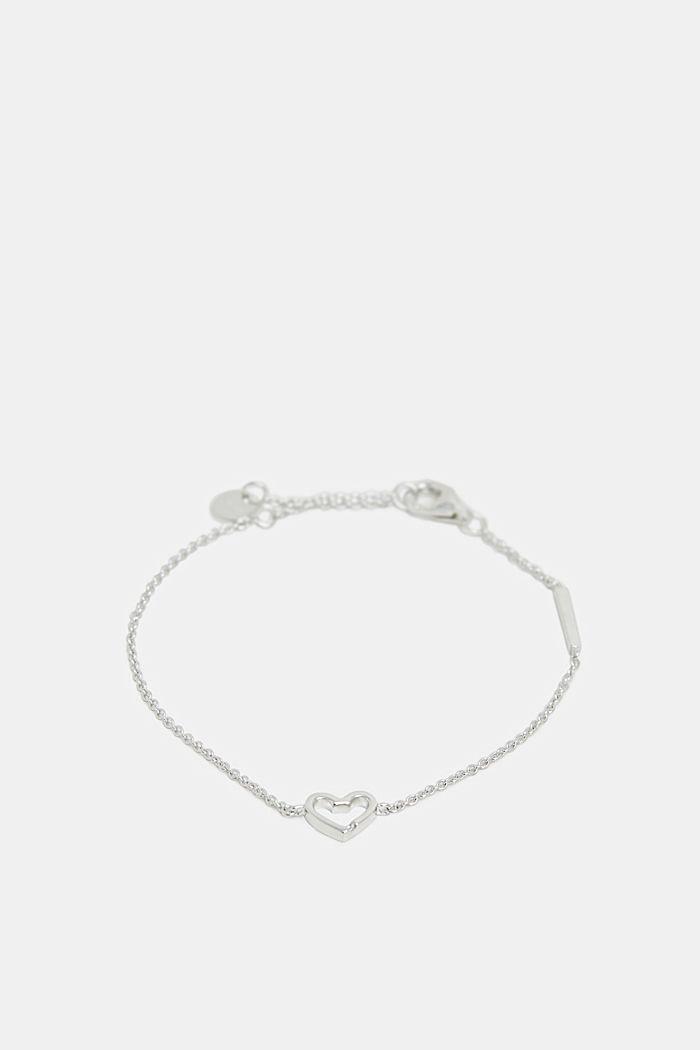 Armband met hartvormig hangertje, sterlingzilver, SILVER, detail image number 0