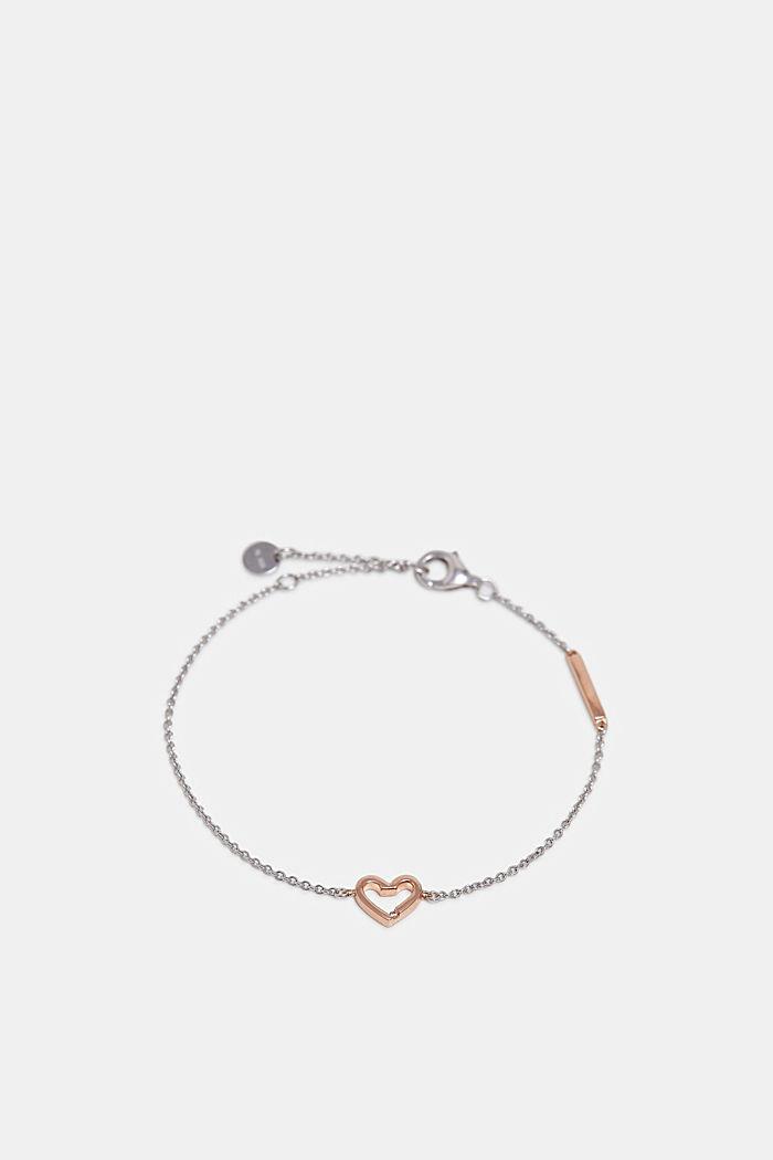 Armband mit Herz-Anhänger, Sterling Silber, SILVER, detail image number 0