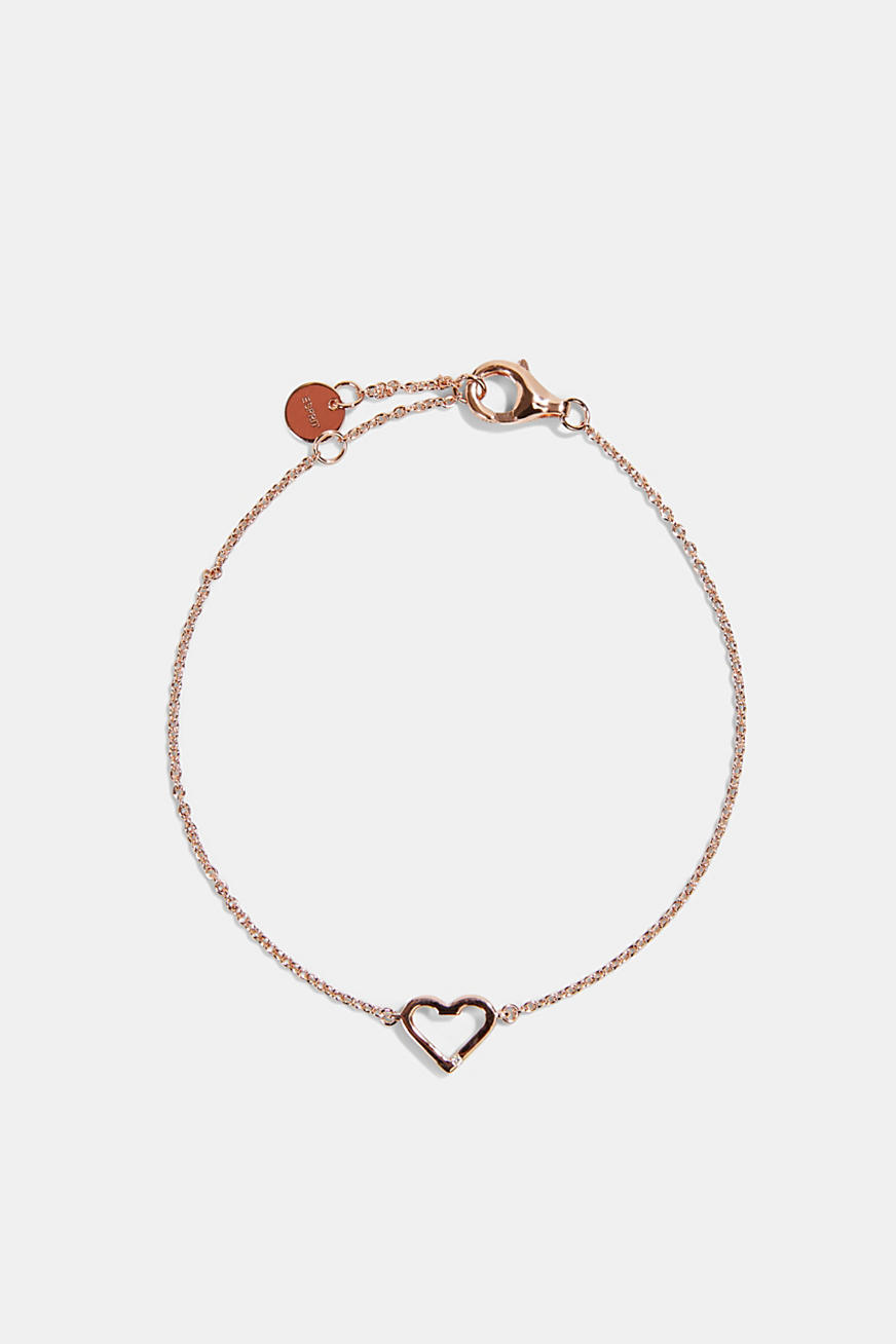 Bracelet with a heart pendant, sterling silver