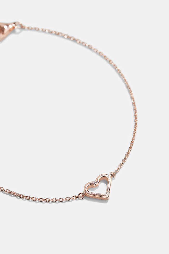 Bracciale con ciondolo a forma di cuore, argento sterling, ROSEGOLD, detail image number 1