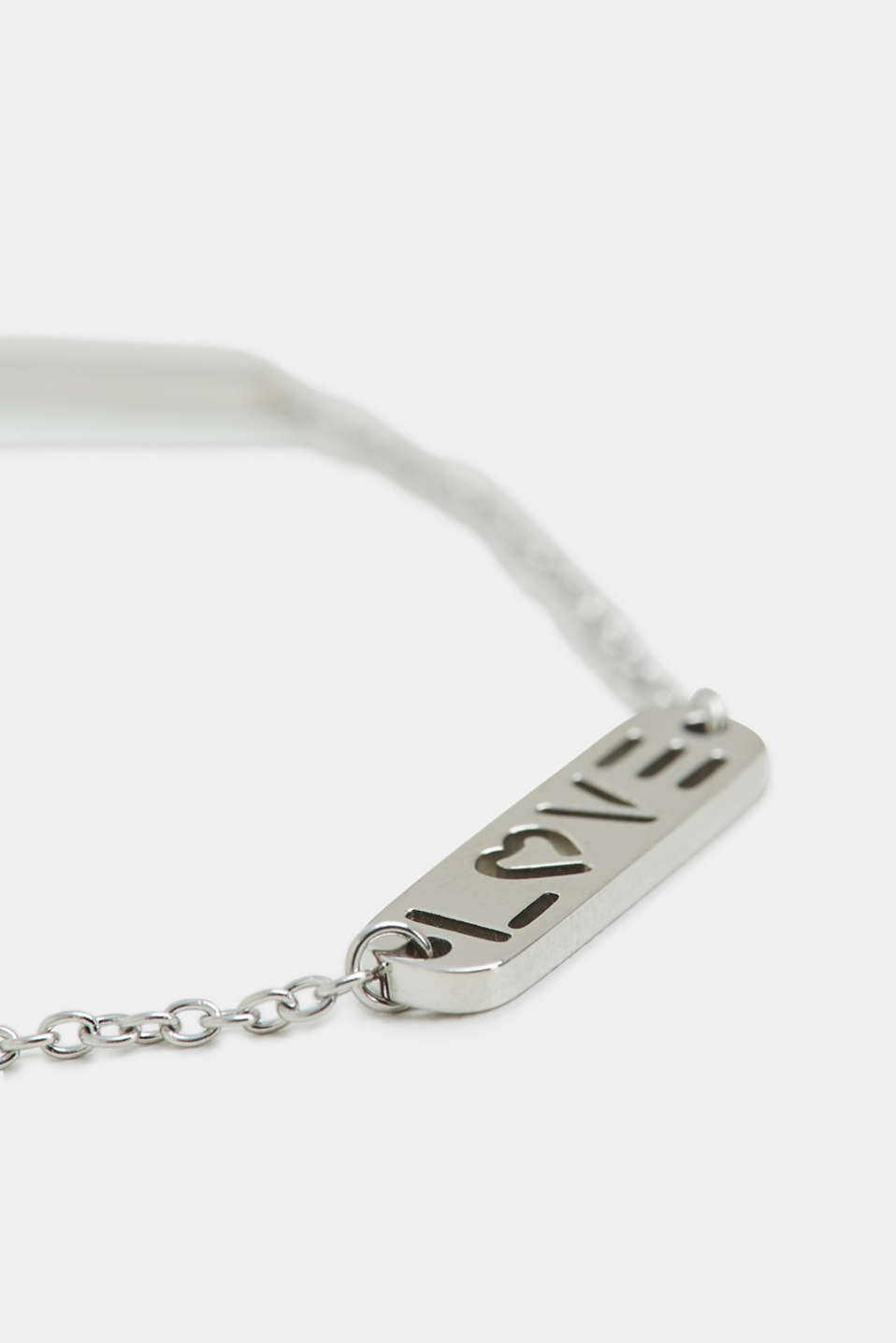 Stainless-steel bracelet with a LOVE charm, SILVER, detail image number 1