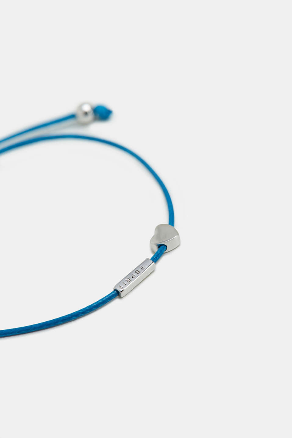 Bracelet with a heart pendant, sterling silver, BLUE, detail image number 1