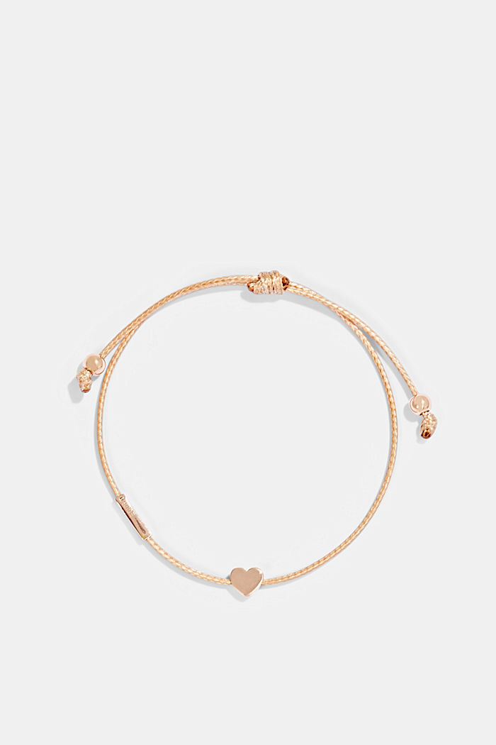 Bracelet with a heart pendant, sterling silver, BEIGE, detail image number 0