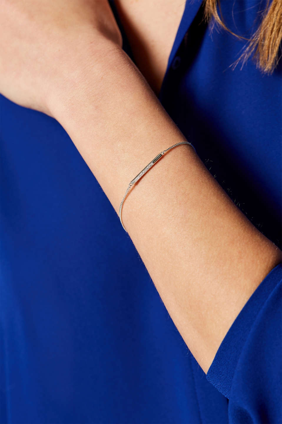 Sterling silver bracelet with a zirconia trim, SILVER, detail image number 2