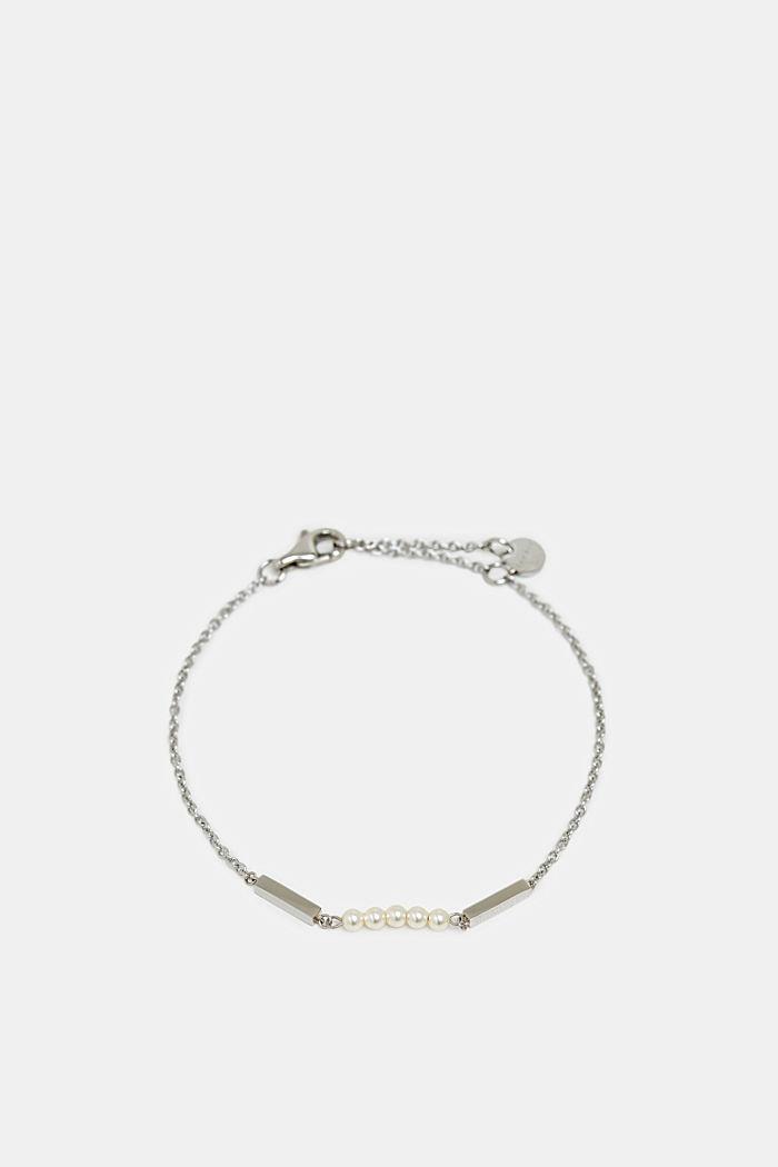 Sierlijke armband met sierparels, van edelstaal, SILVER, detail image number 0