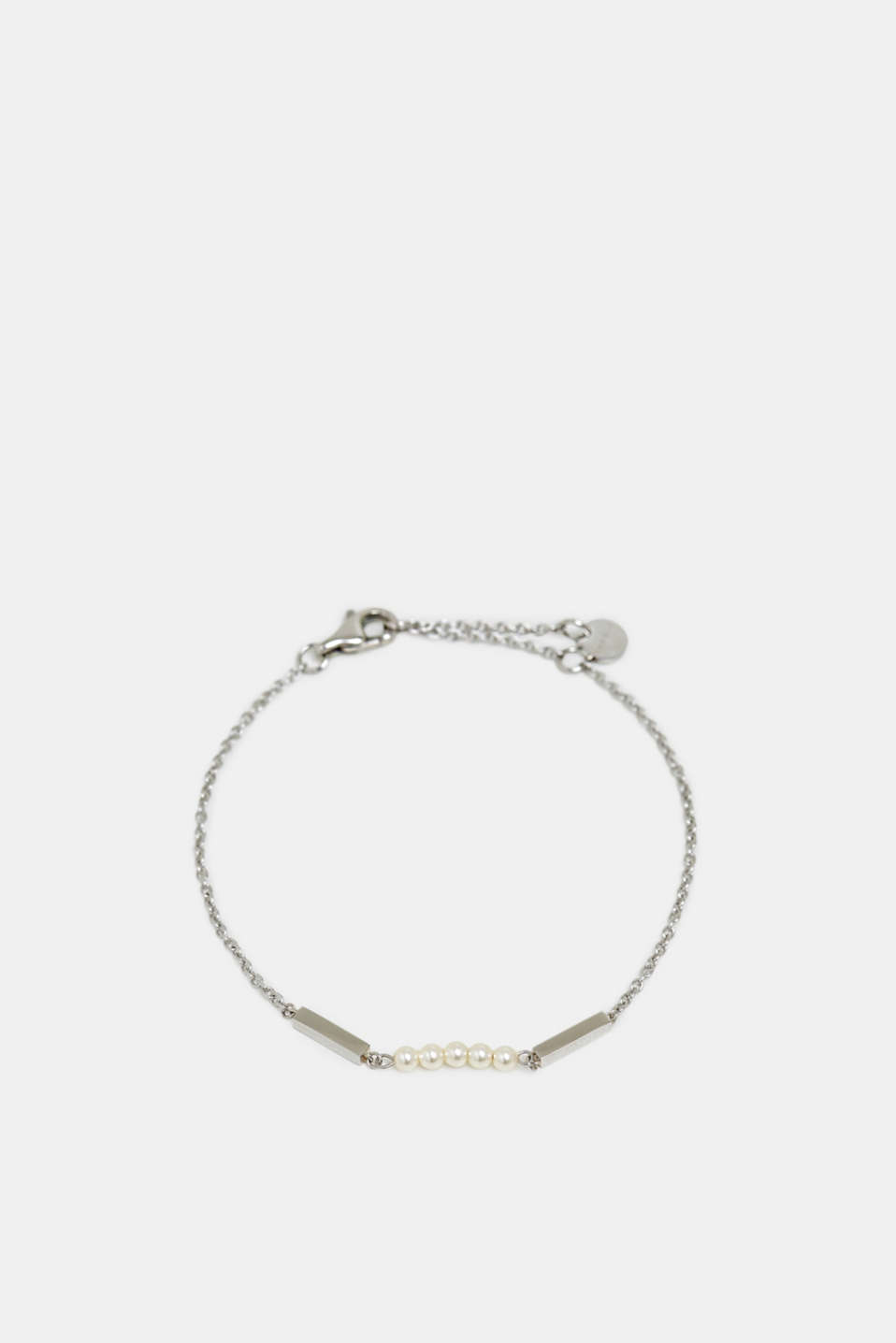 Dainty stainless-steel bracelet trimmed with beads, SILVER, detail image number 0