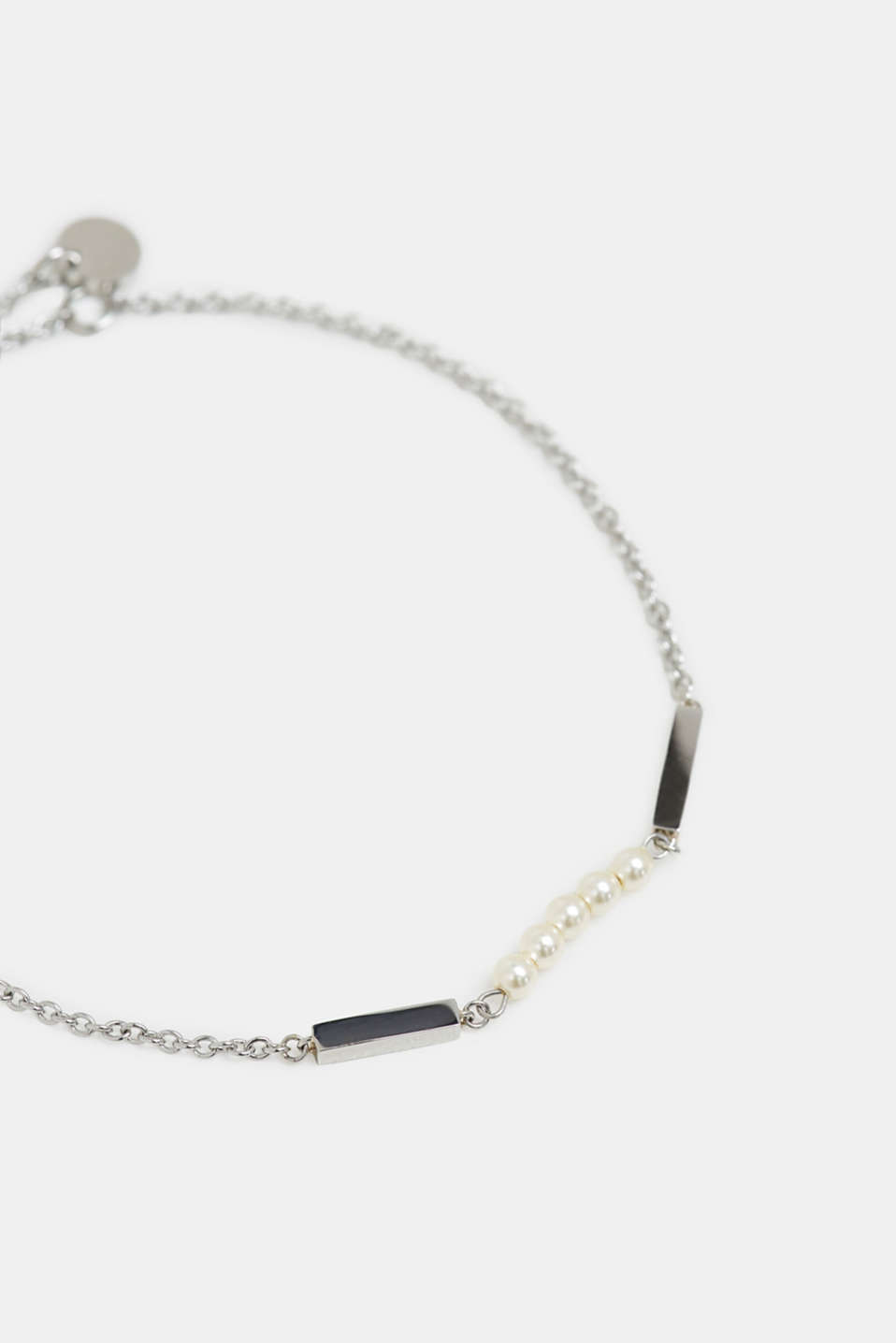 Dainty stainless-steel bracelet trimmed with beads, SILVER, detail image number 1