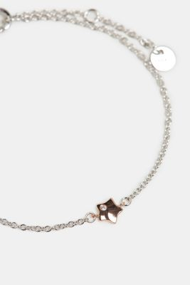 Sterling silver bracelet with a zirconia, ROSEGOLD, detail