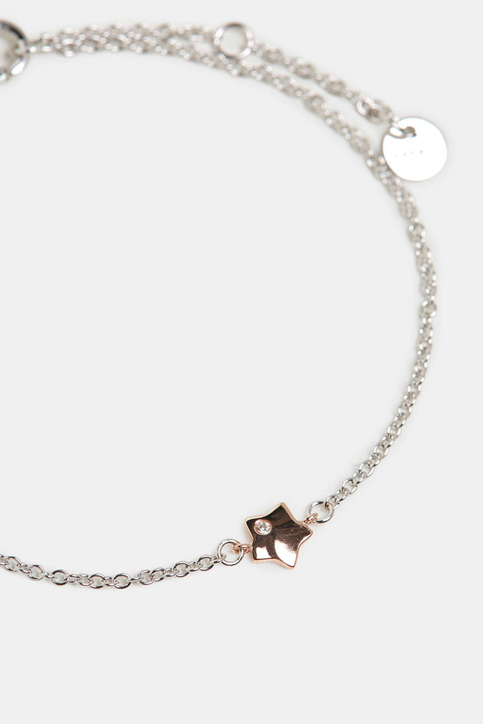 Sterling silver bracelet with a zirconia, ROSEGOLD, detail image number 0