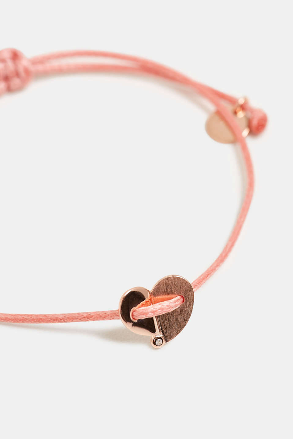 Bracelet with a heart pendant, sterling silver, ROSE, detail image number 1