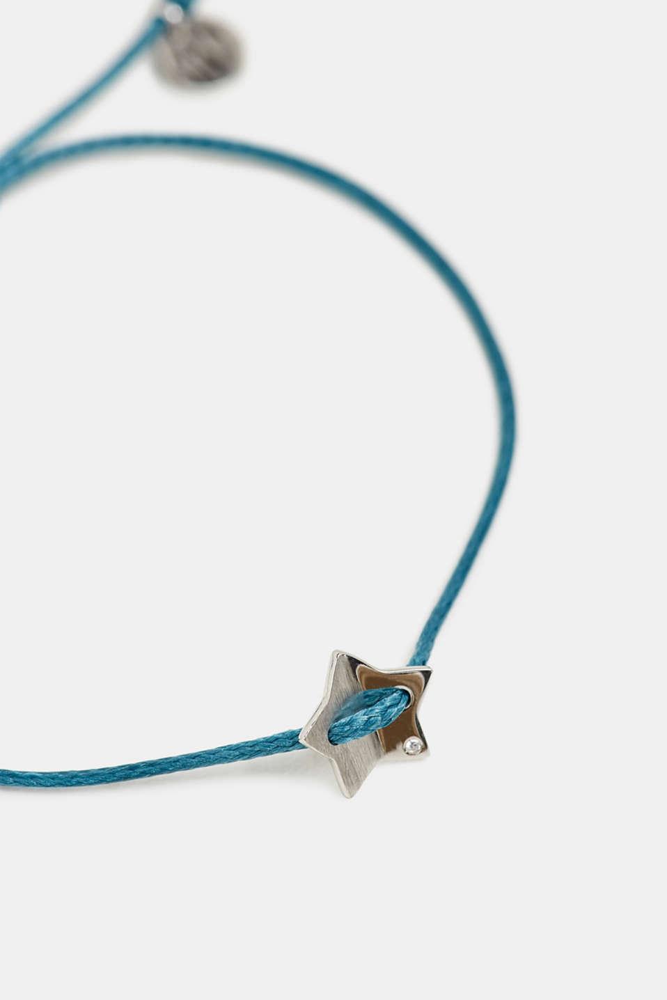 Textile bracelet with star pendants, BLUE, detail image number 1