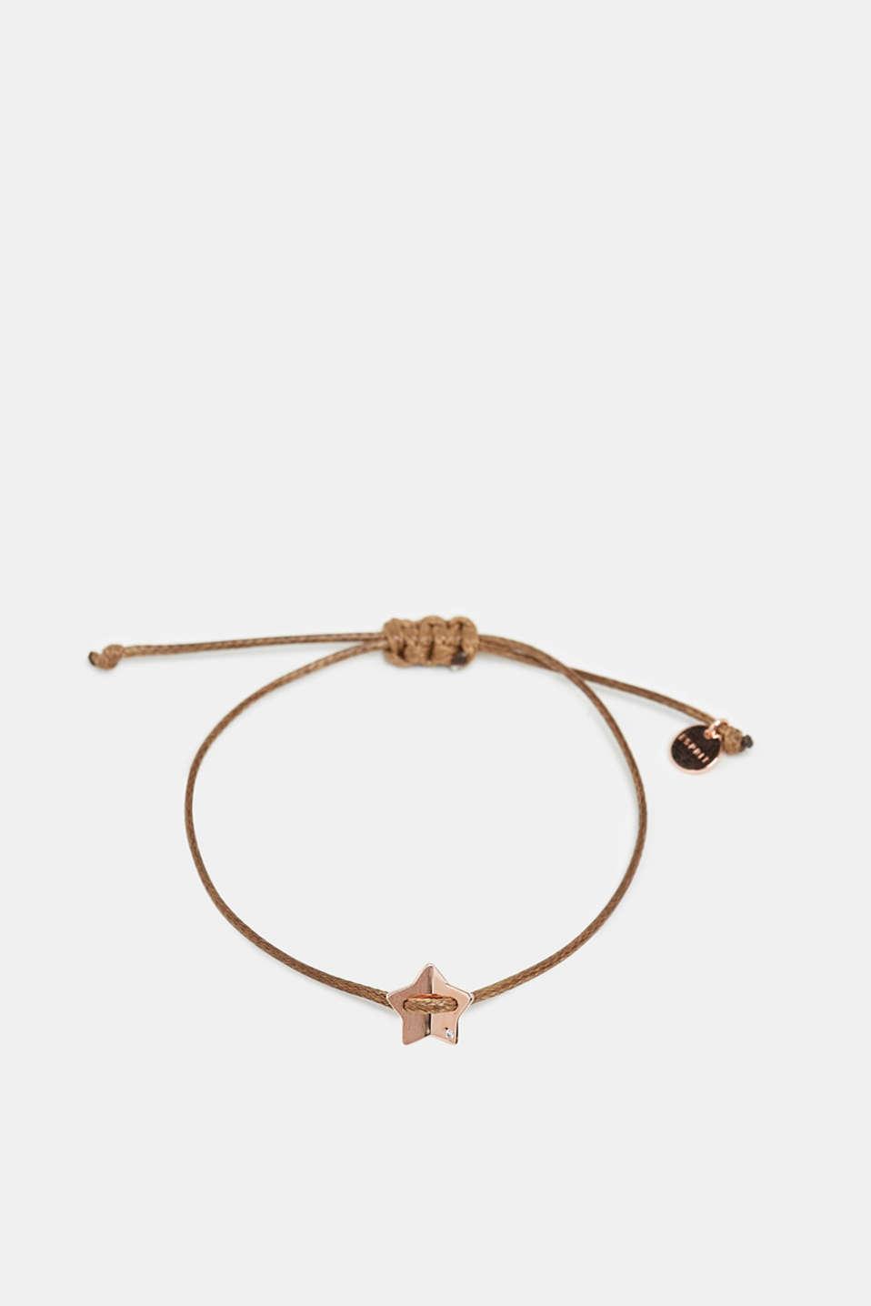 Textile bracelet with star pendants, BROWN, detail image number 0