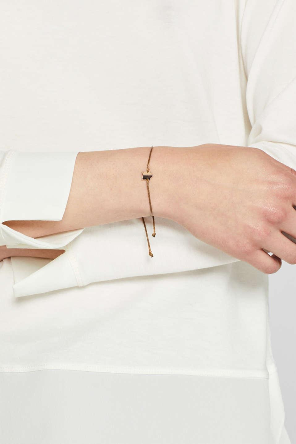 Textile bracelet with star pendants, BROWN, detail image number 2