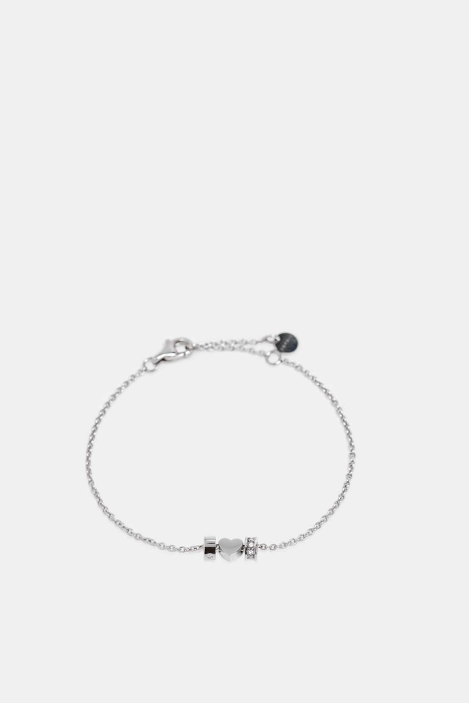Bracelet with pendants and zirconia, stainless steel, SILVER, detail image number 1