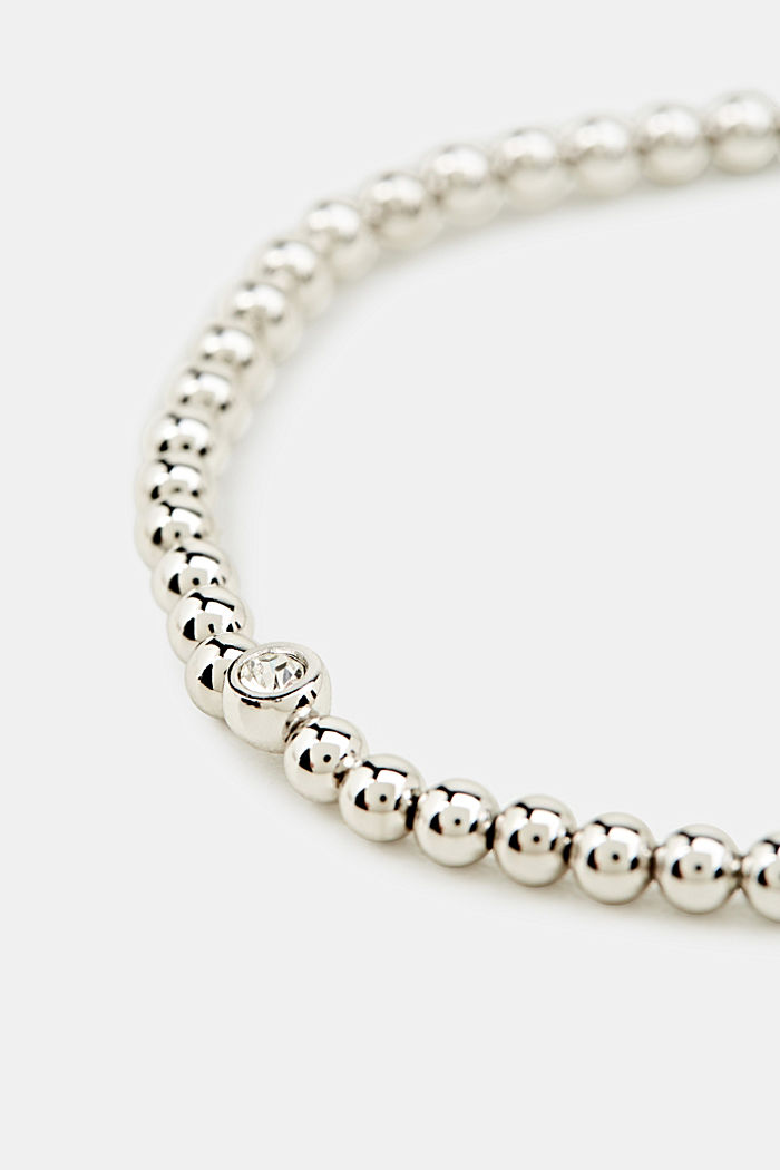 Stretchy brass bracelet with zirconia, SILVER, detail image number 1