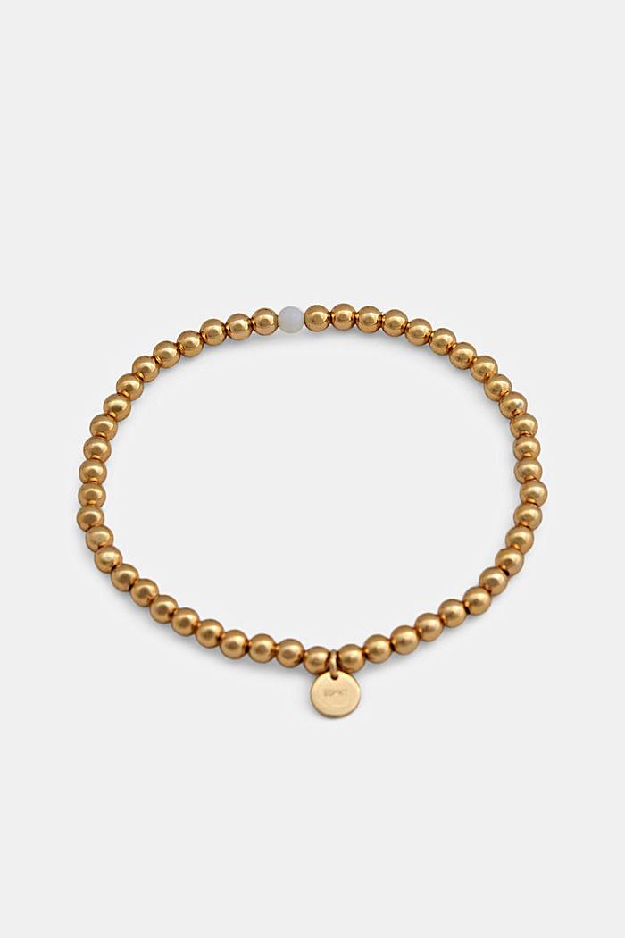 Elasticated brass bracelet, GOLD, detail image number 0
