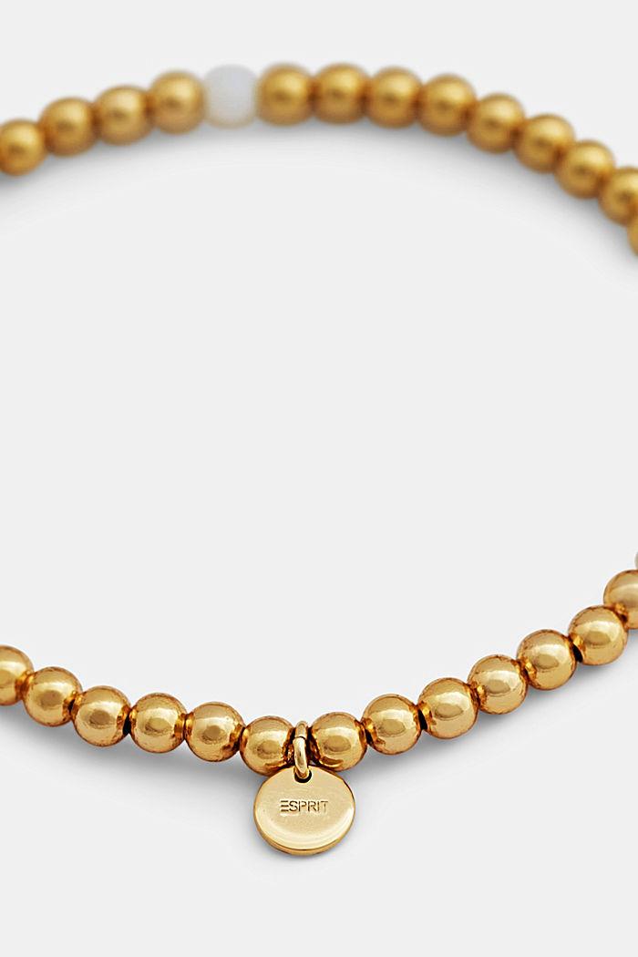 Elasticated brass bracelet, GOLD, detail image number 4