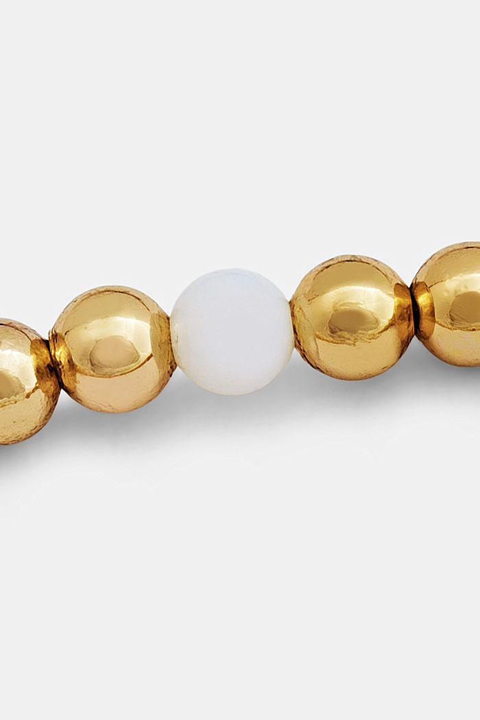 Elasticated brass bracelet, GOLD, detail image number 3