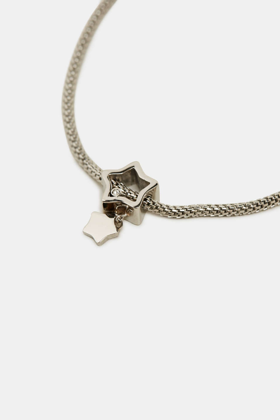 Bracelet with zirconia charm, stainless steel, SILVER, detail image number 1