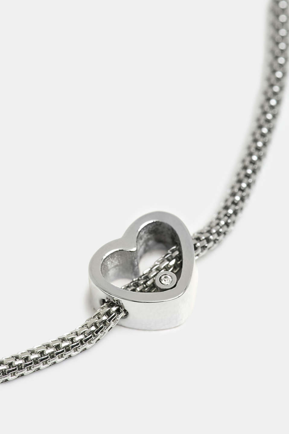 Bracelet with heart charm, stainless steel, SILVER, detail image number 1
