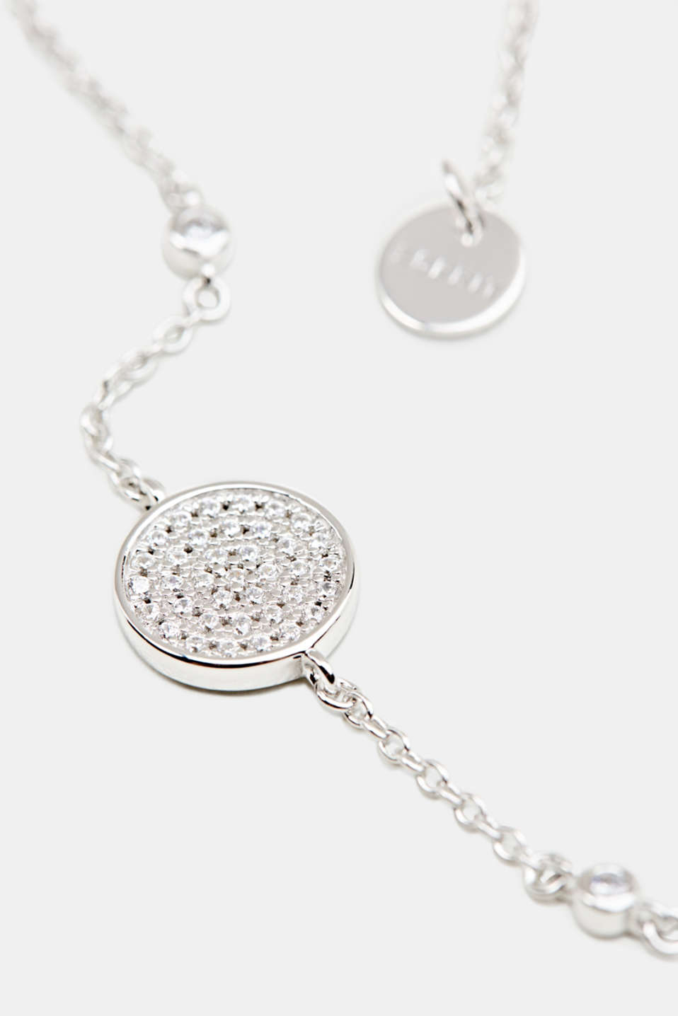 Bracelet with zirconia charm, sterling silver, LCSILVER, detail image number 1