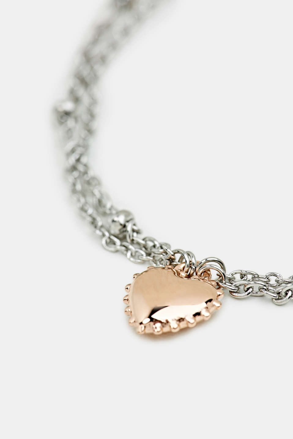 Necklace with a heart charm, stainless steel, LCROSEGOLD BICOL, detail image number 1