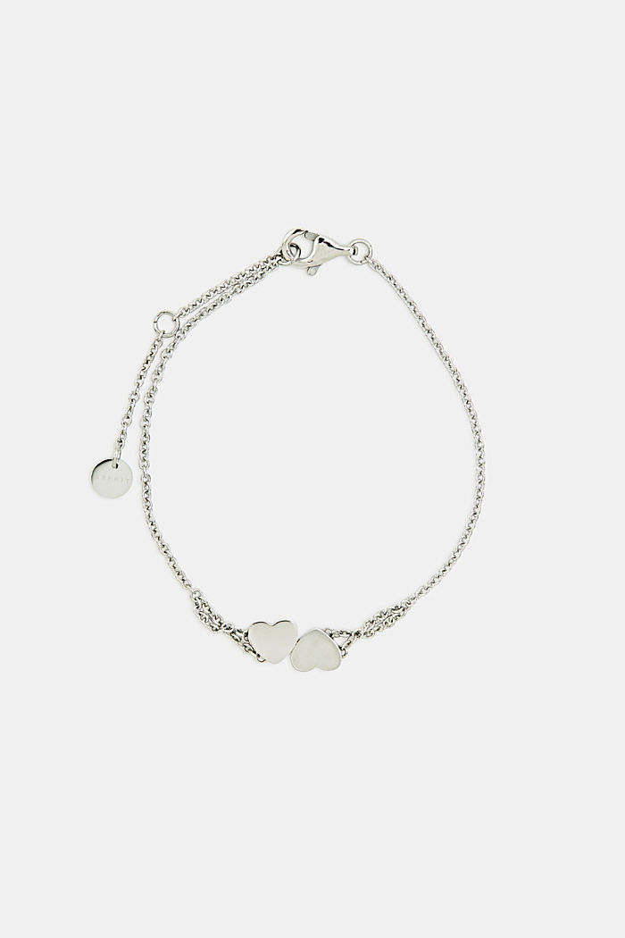 Bracelet with heart charm, stainless steel, SILVER, detail image number 0