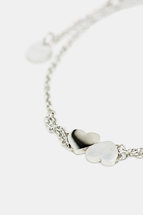 Bracelet with heart charm, stainless steel