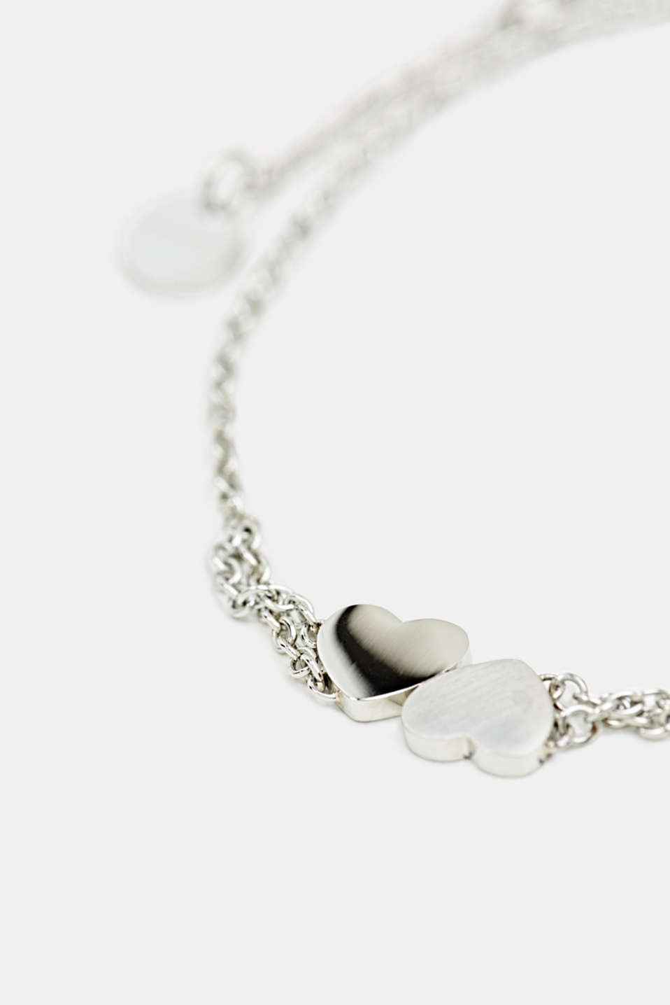 Bracelet with heart charm, stainless steel, LCSILVER, detail image number 1