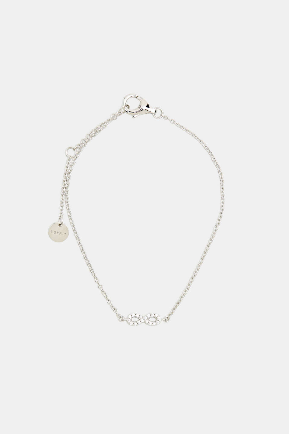 Bracelet with zirconia charm, sterling silver, LCSILVER, detail image number 0