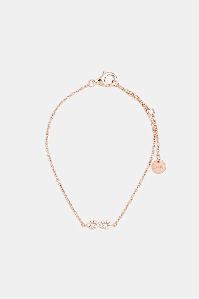 Bracelet with zirconia charm, sterling silver, ROSEGOLD, detail image number 0