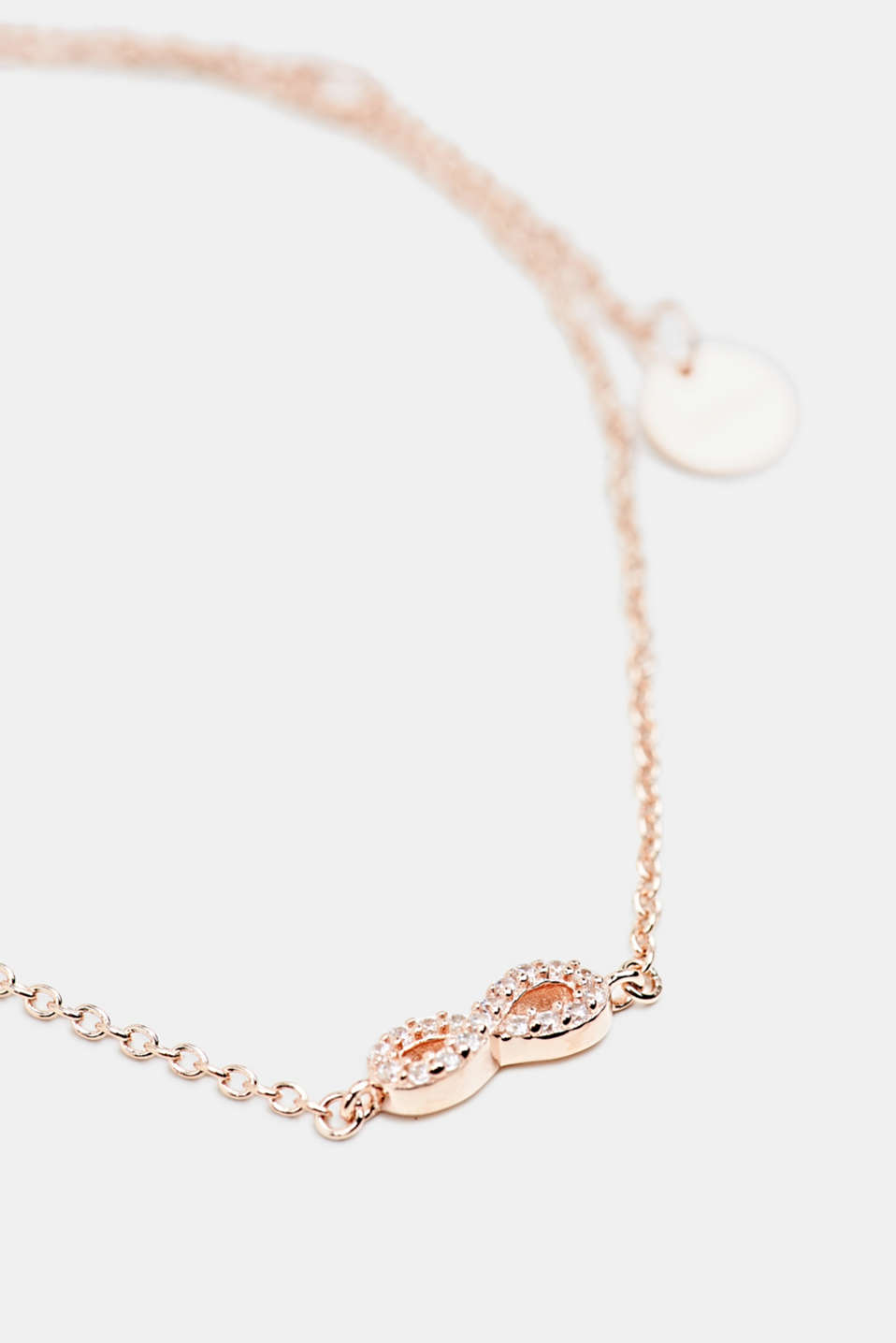 Bracelet with zirconia charm, sterling silver, LCROSEGOLD, detail image number 1
