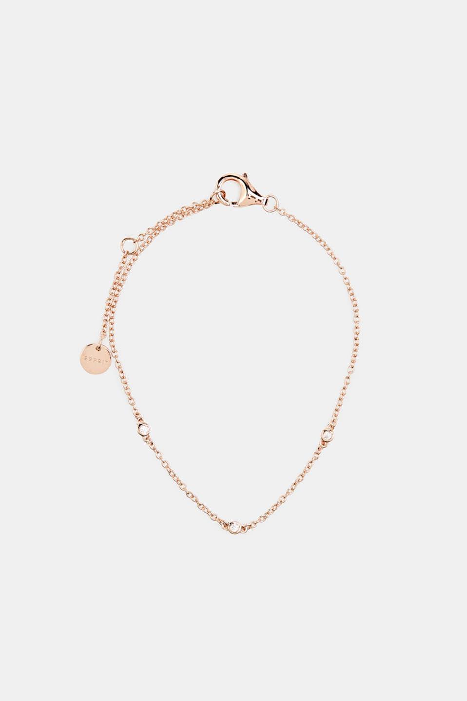Bracelet with zirconia, sterling silver, LCROSEGOLD, detail image number 0