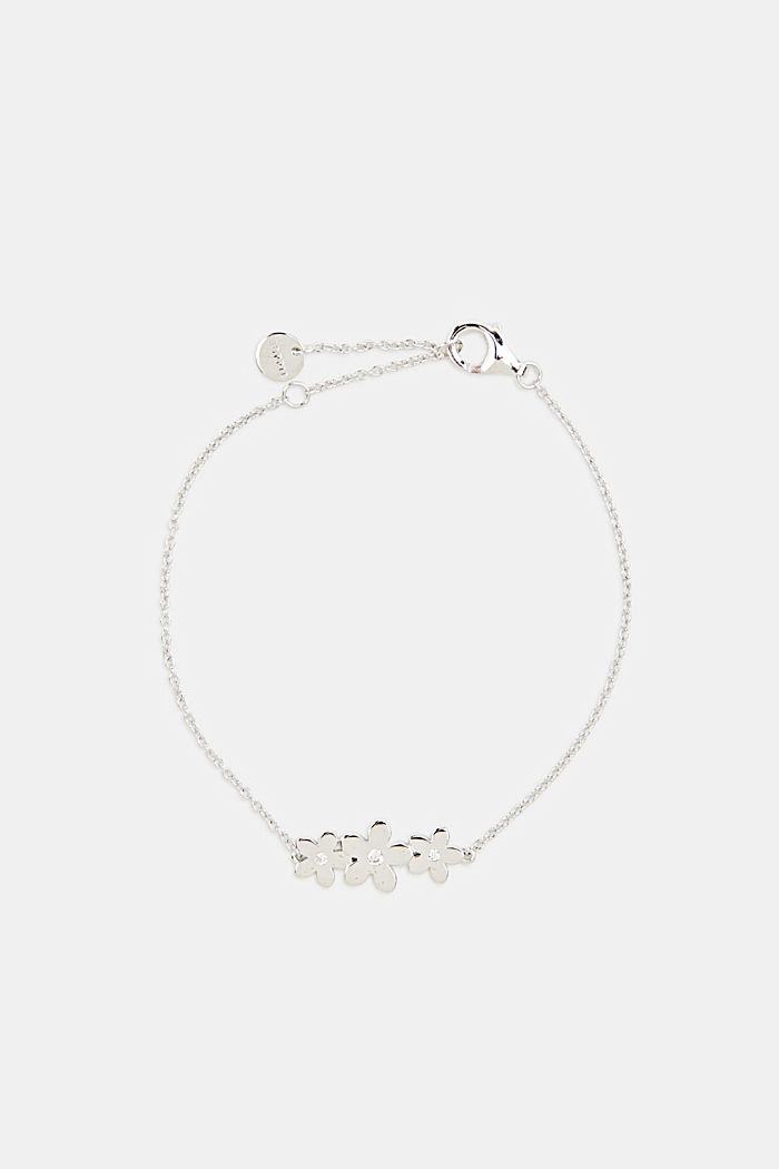 Bracelet with flower and zirconia, sterling silver, SILVER, detail image number 0