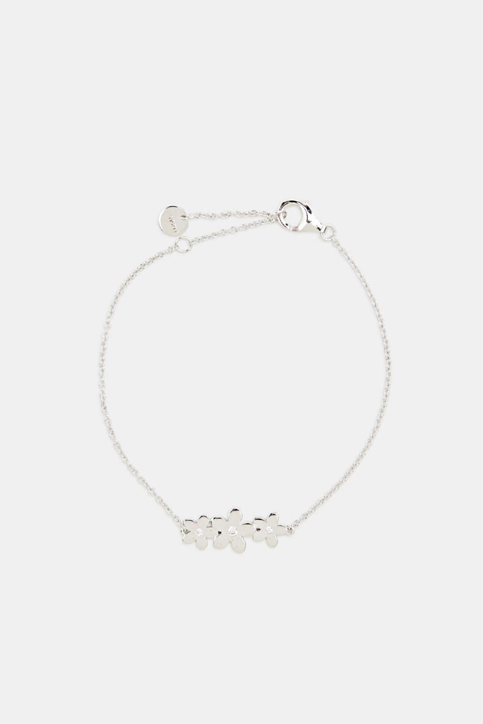 Bracelet with flower and zirconia, sterling silver, LCSILVER, detail image number 0