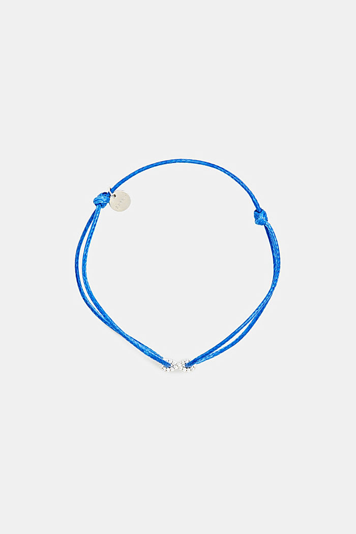Bracelet with zirconia pendant, sterling silver, BLUE, detail image number 0