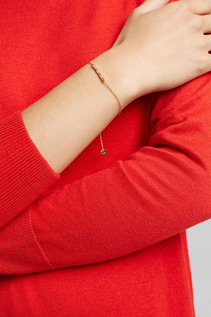 Armband mit Zirkonia, Sterling Silber, GOLD, detail image number 2