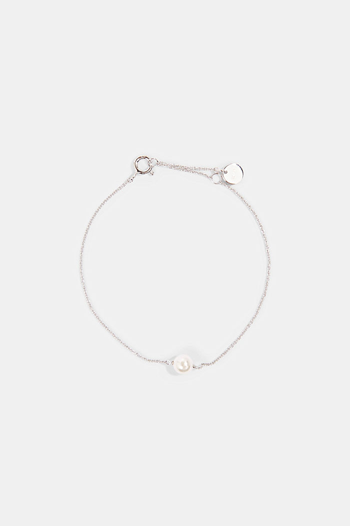 Fine, faux pearl detail bracelet made of sterling silver, SILVER, detail image number 0