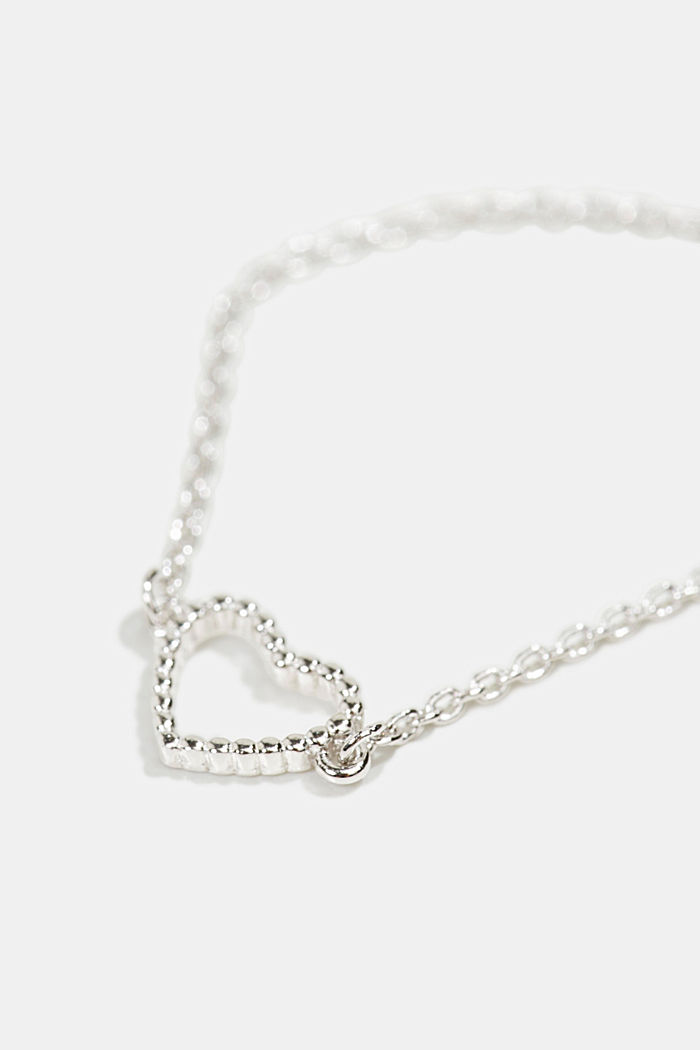 Bracelet with a heart pendant, sterling silver, SILVER, detail image number 1