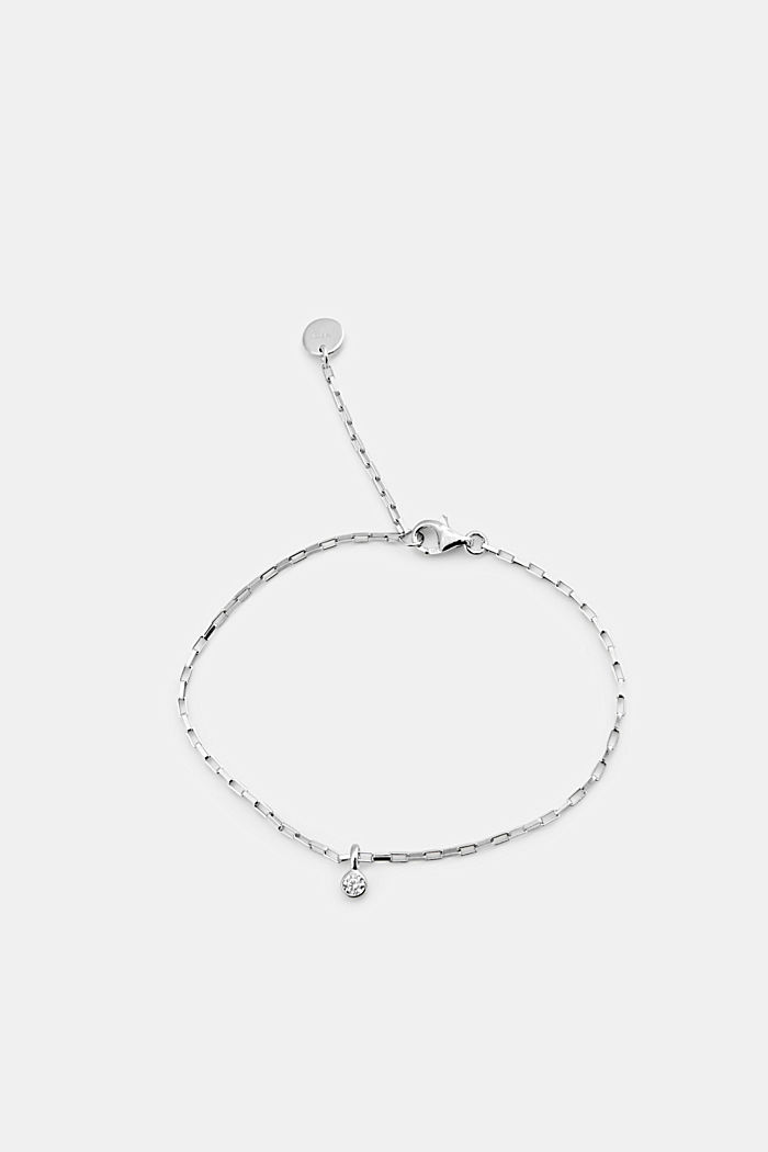 Bracelet made of sterling silver with zirconia, SILVER, detail image number 0