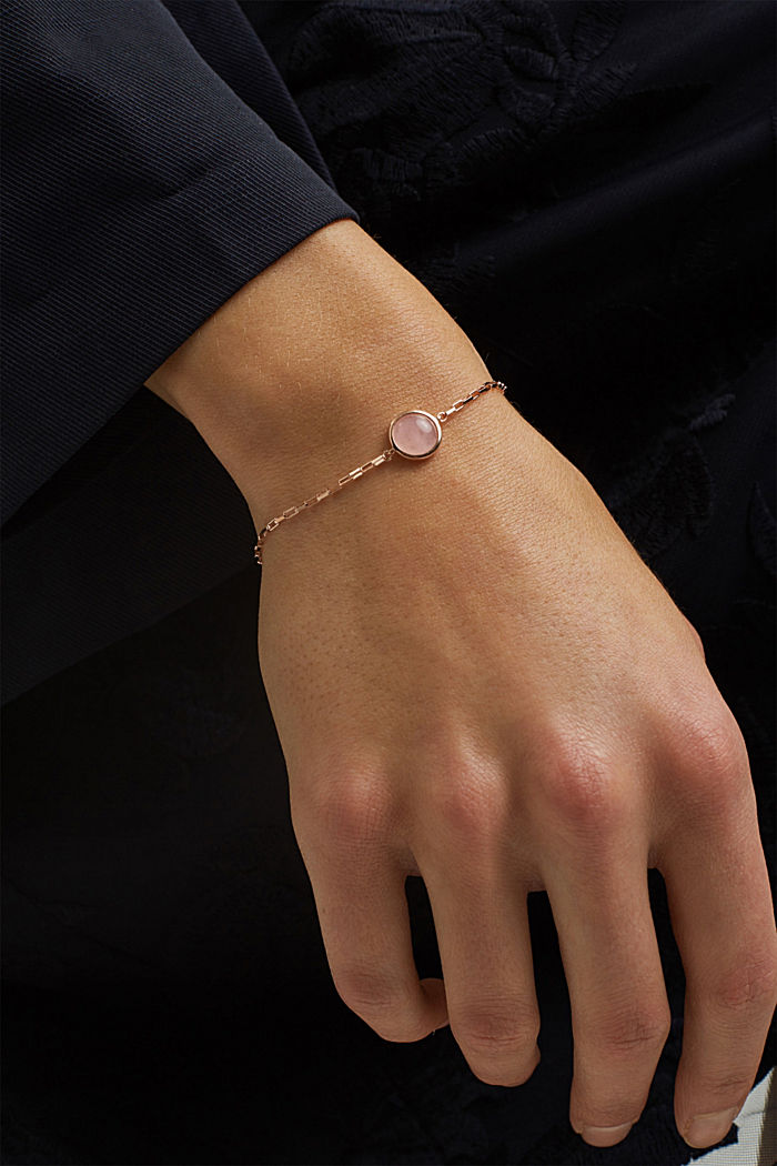 Bracelet with gemstone, sterling silver, ROSEGOLD, detail image number 2