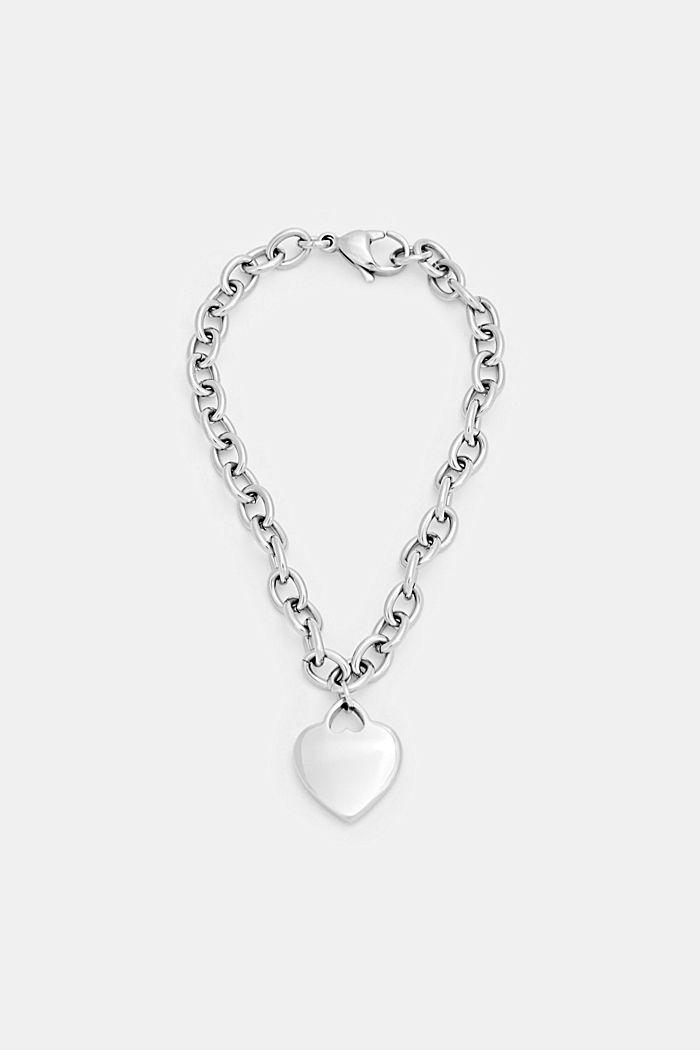 Bracelet à pendentif cœur, acier inoxydable