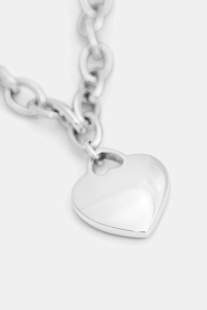 Pulsera con colgante en forma de corazón, acero inoxidable, SILVER, detail image number 1