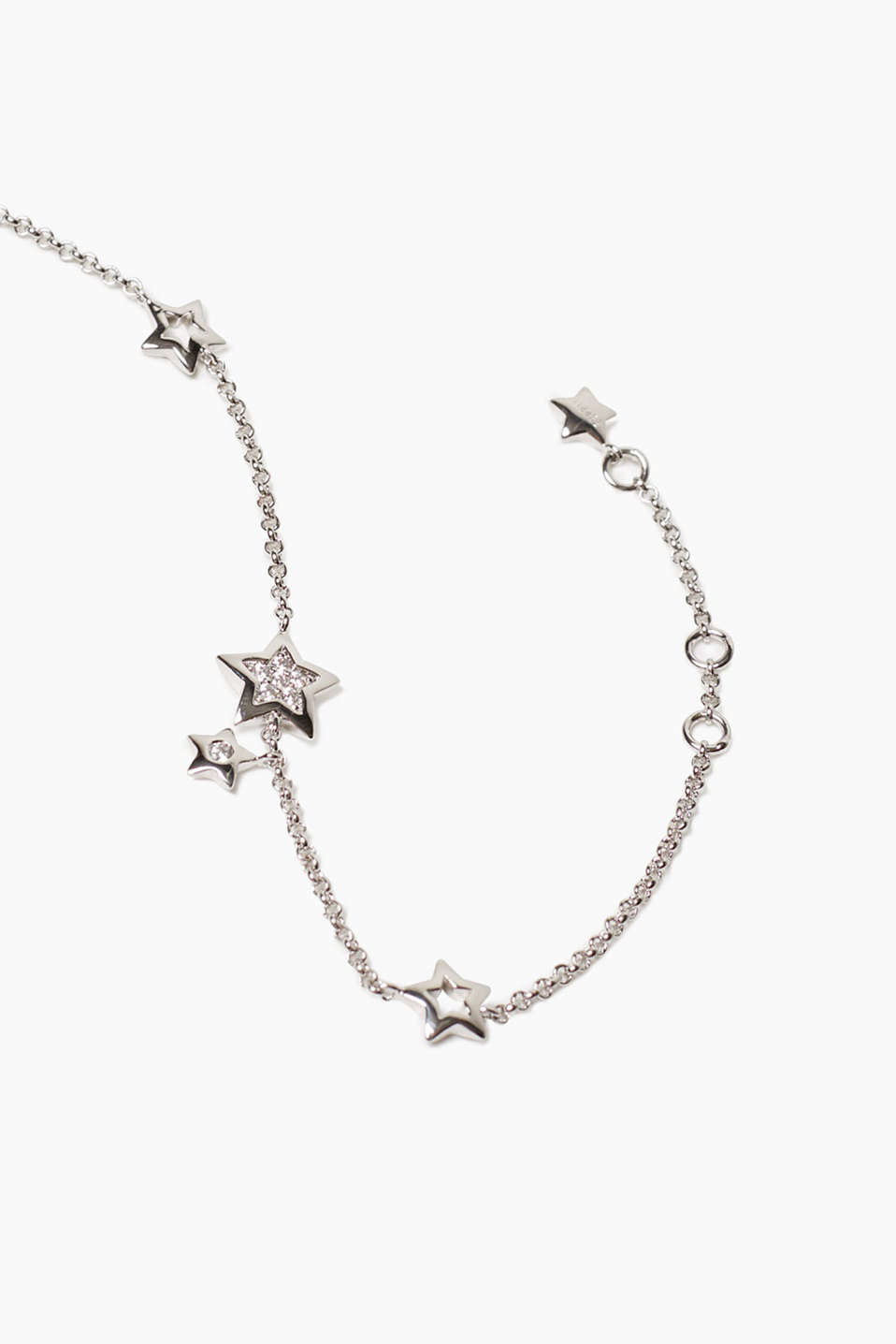 Metal bracelet with stars and zirconia
