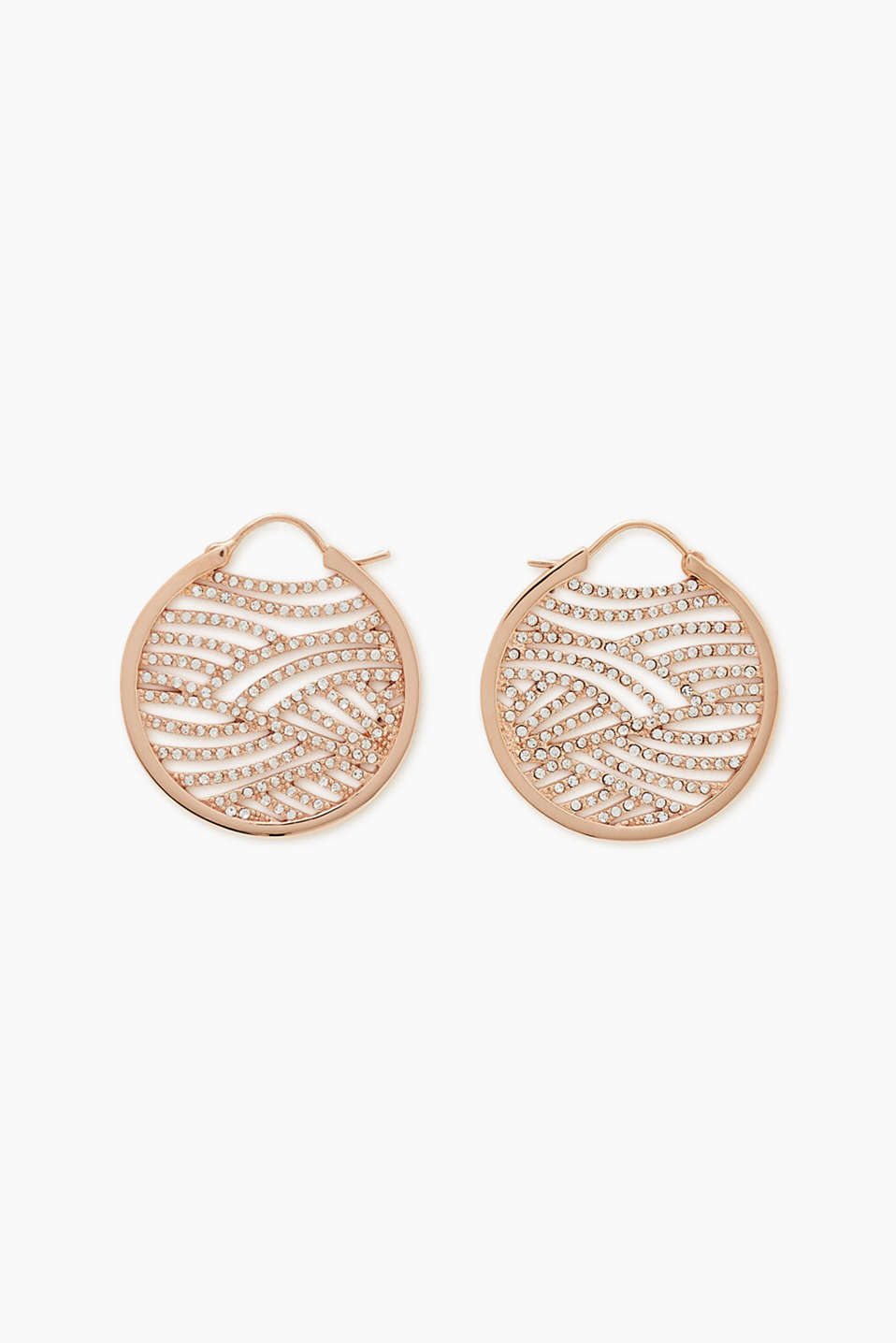 Esprit - Rose gold hoop earrings with zirconia